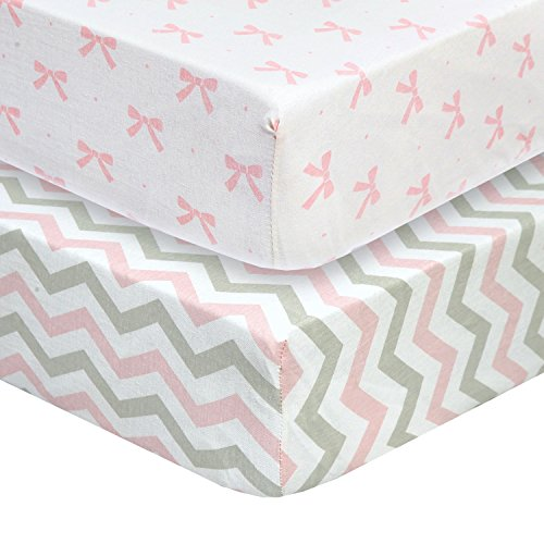 CUDDLY CUBS Set of 2 Jersey Cotton Fitted Crib Sheets in Gray and Pink with Chevron, Dots & (Crib Bedding Sets For Girls Pink)