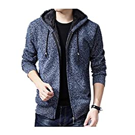 Men's Knit Cardigan Sherpa Lined Thickened Fleece Trench Coat Outwear