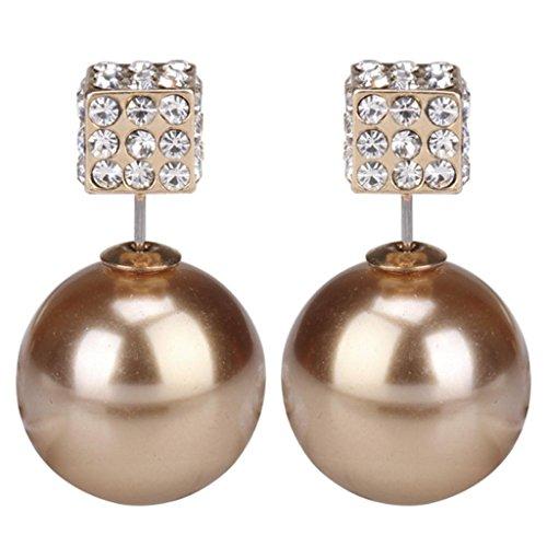 Eyourlife Fashion Womens Lady Earring Double Side Pearl Crystal Ear Studs Earrings Shiny Gold