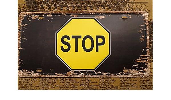 Amazon com: Stop Vintage Metal Signs Vintage Car License