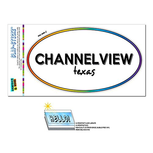 Graphics and More Rainbow Euro Oval Window Bumper Laminated Sticker Texas TX City State Bur - Den - Channelview