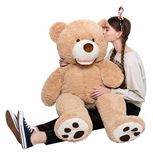 MorisMos Big Teddy Bear With Footprints Stuffed Animal Plush Toy for Girlfriend Children 39 (Big Stuffed Brown Bear)