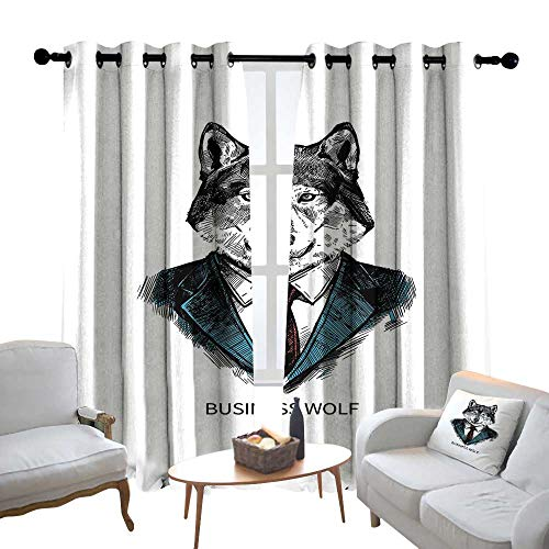 Customized Curtains Wolf,Business Animal in Suit with Jacket Shirt and Tie Sketch Style Hipster Print,Teal Vermilion Black,Blackout Thermal Insulated,Grommet Curtain Panel Set of 2 84