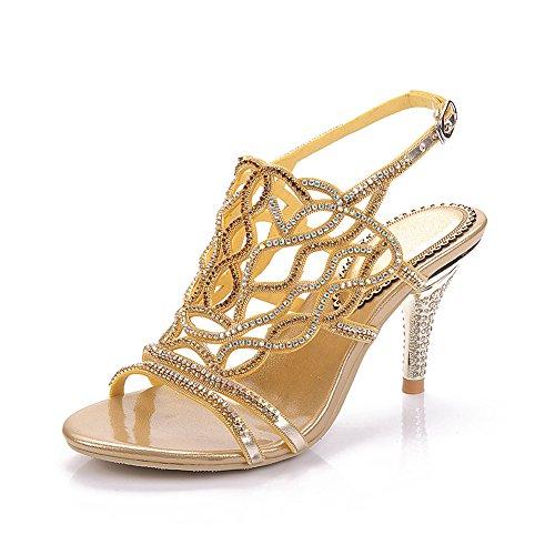 Mediados Verano Hechas Boda 35 Rhinestone Mujeres Strappy De Talón Señoras 43 Del Shoes La Prom A Bridemaid Gold Tamaño Las Mano Sandalias Party xSOPxwqXp