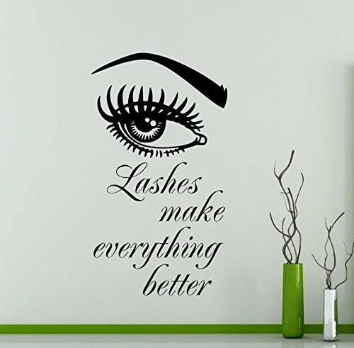 4f945800246 Lashes Make Everything Better Wall Decal Beautiful Eye Eyelashes Decor  Fashion Quote Vinyl Sticker Gift Art