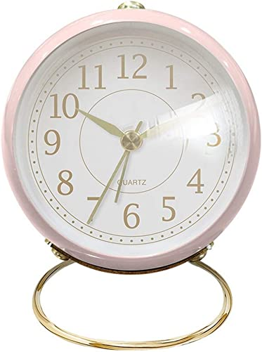 Desk Clock Battery Operated Non Ticking Night Light Bedroom Small Table Clock Living Room Decorative Analog Alarm Clock Pink
