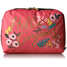 Rifle Paper X Lesportsac Extra Large Rectangular Cosmetic Cosmetic Bag, HELLO GORGEOUS, One Size