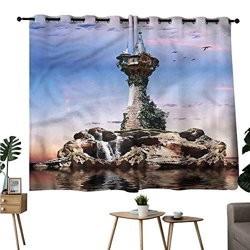 (Brandosn reducing Noise Darkening Curtains Grommets Curtain Kitchen Fantasy,Wizard Magician Fictional Curtains/Panels/Drapes W96 x L72)