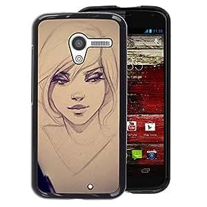 A-type Arte & diseño plástico duro Fundas Cover Cubre Hard Case Cover para Motorola Moto X 1 1st GEN I (Sexy Girl Drawing Sketch Art Eyes Portrait)