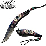 """8.5"""" Native American Indian Spring Assisted Open Pocket Knife Damascus Feather"""