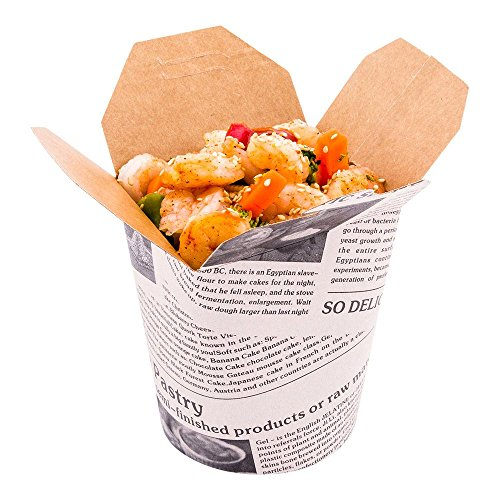 Disposable Noodle Take Out Container, Noodle To Go Box - Eco-Friendly Paper - Round - 16 oz - Newsprint with Kraft Interior - 200ct Box - Restaurantware