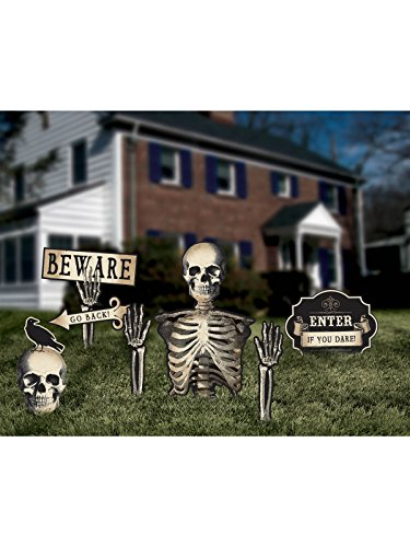 Dreadful Boneyard Halloween Party Assorted Skeleton Yard Stakes Decoration, Plastic, Pack of (Halloween Party Decorations Amazon)
