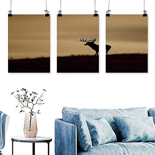 SCOCICI1588 3-Piece Modern Trophy Whitetail Buck to Hang for Living Room No Frame 24 INCH X 40 INCH X 3PCS