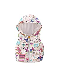 UWESPR Little Girls Cartoon Graffiti Printed Hooded Vests Zipper Outerwear