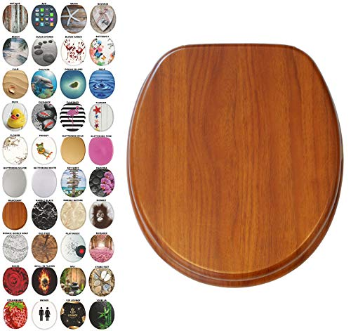 (Sanilo Round Toilet Seat, Wide Choice of Slow Close Toilet Seats, Molded Wood, Strong Hinges (Mahogany))
