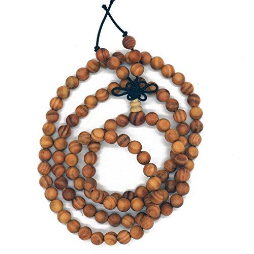Zen Dear Unisex Natural Dammar Pine Wood Beads Tibetan Buddhist Mala Meditation Necklace Bracelet Beads