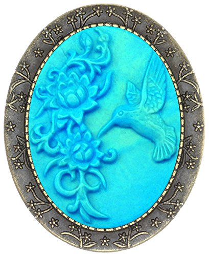 Floral Pin Brooch Antique Brass Flower Decor Fashion Cameo Jewelry Pouch for Gift (Carving Hummingbird)