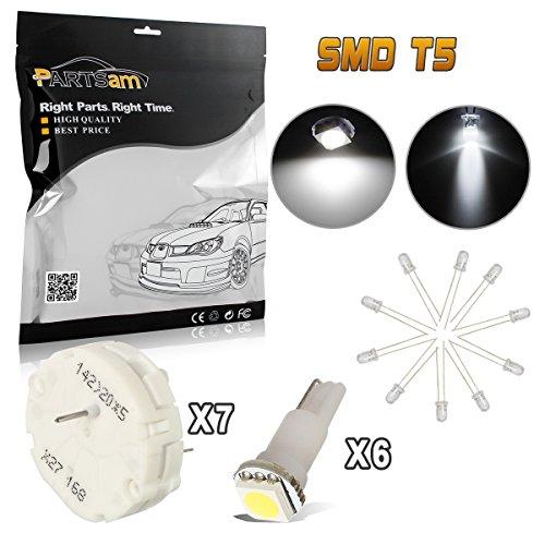 Partsam 7Pcs Stepper Motor X27.168 Speedometer Cluster Repair Kit + 6pcs T5 37 74 Led White+10 T4.7 Mini Led White Bulb
