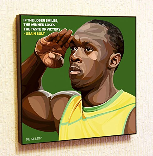(Usain Bolt Run Motivational Quotes Wall Decals Pop Art Gifts Portrait Framed Famous Paintings on Acrylic Canvas Poster Prints Artwork Geek Decor (10x10
