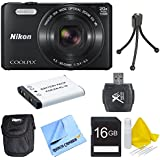 Nikon COOLPIX S7000 16MP 1080p HD Video Digital Camera with extra battery, compact carrying case, card reader, 16gb memory card, mini tripod, lens cleaning kit, and micro fiber cloth