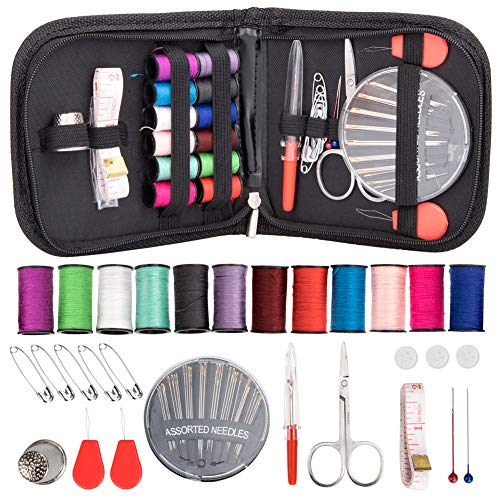Sewing Kit for Beginner, Travel, Adults, Sewing Kit Emergency Accessories Bag DIY Sewing Supplies Organizer Pocket Size Filled with Scissors, Tape Measure,Thimble, Thread, Sewing Needles,etc - Fun Mini Needlepoint Kit
