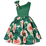 Little Girls A Line Dresses Kids Christmas Day Gorgeous Vintage Tea Floral Printed Dress (Green,110)