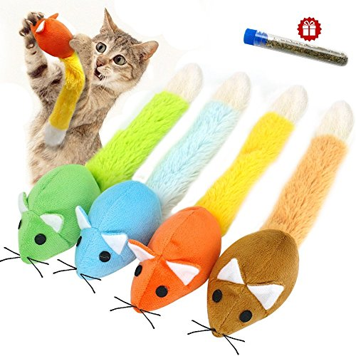 Stock Show 1Pc Pet Cat Long Tail Mouse Toy with Catnip, Plush Catmint Mice Teaser Interactive Playtoy for Kitty Kitten