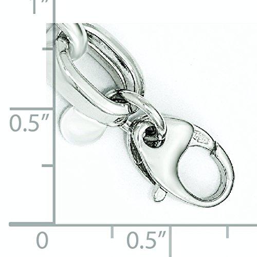 """14 Carats Or blanc poli et texturé fantaisie lien Bracelet 7 """"Motif JewelryWeb"""