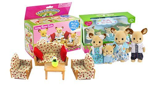Calico Critters Buckly Deer Family and Living Room Set