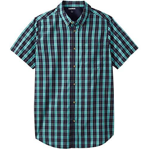 KingSize Men's Big & Tall Shrink-Less Short Sleeve Sport Shirt, Tidal Green Check Big-7XL