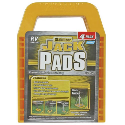 Camco RV Stabilizing Jack Pads, Helps Forbid Jacks From Sinking, 6.5 Inch x 9 Inch Pad - 4 pack