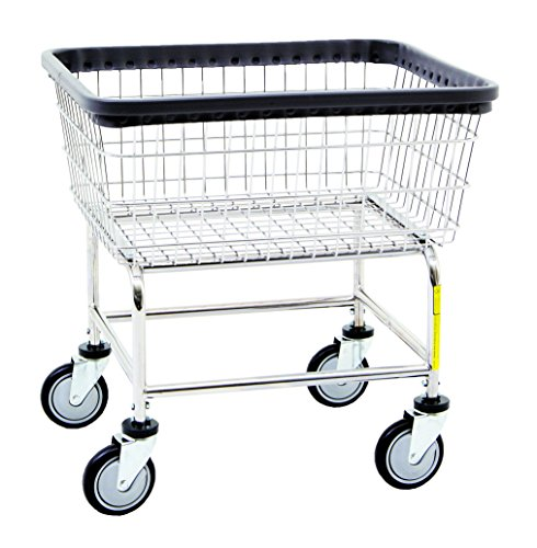 Narrow Laundry Cart, basket color: Chrome by R&B Wire Products