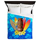 CafePress - Tiki And Surfboards - Queen Duvet Cover, Printed Comforter Cover, Unique Bedding, Microfiber