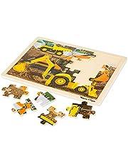 Melissa & Doug Construction Vehicles Wooden Jigsaw Puzzle with Storage Tray (24 pcs)