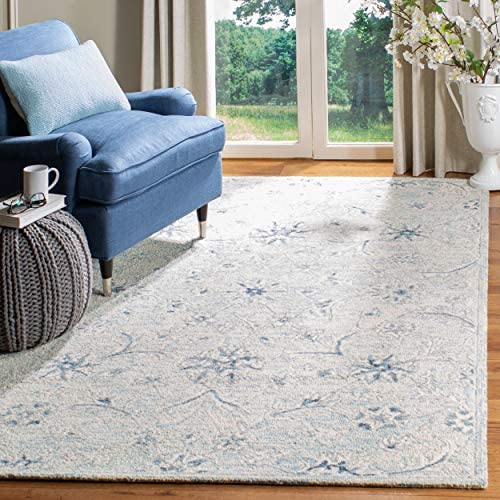 Safavieh MLP506M-9 Micro-Loop Collection MLP506M Light Blue and Ivory Premium Wool 9' x 12' Area Rug
