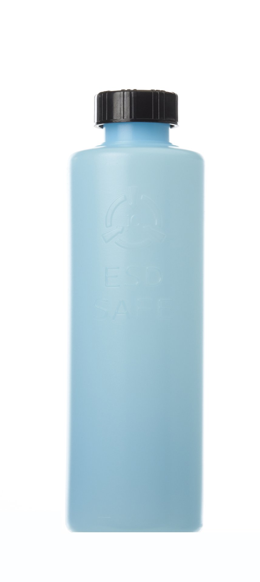 Case of 50-8oz.Round Storage Bottle with lid ESD Safe, Static Dissipative, Blue Bottle. Average Surface resistivity of 10^9 to 10^10. Will dissipate a Charge of 5000 Volts in +/-2 secs. by R&R Lotion