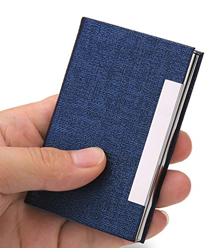 JuneLsy Business Card Holder - Professional PU Leather Business Card Case Metal Name Card Holder Business Card Carrier for Men & Women with Magnetic Shut (Blue) ()