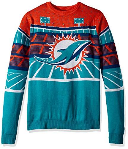 FOCO NFL Miami Dolphins Mens Light Up Bluetooth Speaker Sweaterlight Up Bluetooth Speaker Sweater, Team Color, -