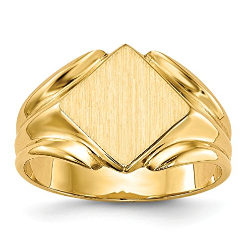 Roy Rose Jewelry Solid Closed Back Womens Signet Ring Square Shape Grooved Sides Custom Personailzed with Free Engraving Available of Initials ~ Size 7.25 in Solid 14K Yellow Gold ()