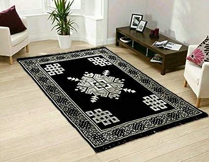 Home Elite Ethnic Velvet Touch Abstract Chenille Carpet - 55x80, Black