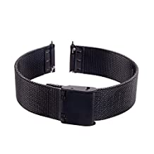 Xuexy 14mm Pebble Time Round with Quick Release Spring Bars/Pins Milanese Wire Mesh Stainless Steel Watch Band Strap Replacement Bracelet,Black