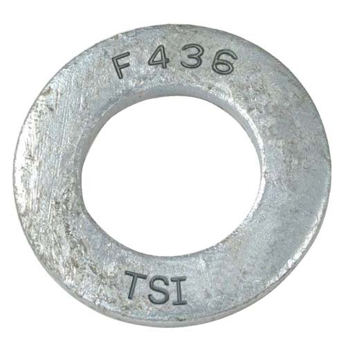 Steel Flat Washer, Hot-Dipped Galvanized Finish, ASTM F436 Type 1, 1'' Screw Size, 1-1/16'' ID, 2'' OD, 0.135'' Thick (Pack of 10)