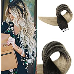 Full Shine 18 inch Seamless Skin Weft Tape In Human Hair Extensions Tape Remy Hair Full Head Balayage Color #1B Fading to #613 Skin Weft Remy Hair 50g 20Pcs Per Package
