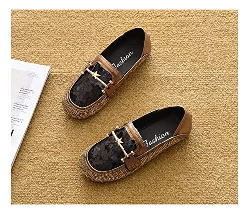 Tejida Planos 39 Golden WULIFANG Maternidad Ahuecó Cuero Claret Zapatos A Apartamento Color Zapatillas Mano Z5WqnPS