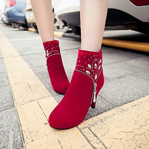 Botines 43 36 Mujer Mujer Tacón Rojo Zapatos Zj Martin Boots De botas British Alto Invierno Moda Oqf6xwTY