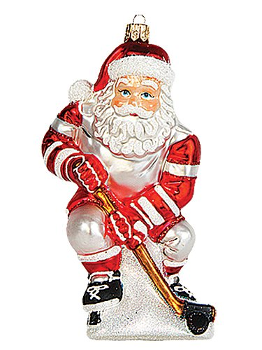 Hockey Player Santa Polish Mouth Blown Glass Christmas Ornament Tree Decoration (Blown Ornament Player)