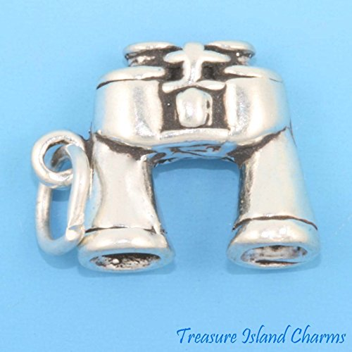 Binoculars 3D .925 Solid Sterling Silver Charm Made in USA -