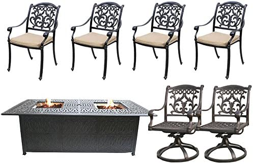 7 Piece Fire Pit Table Set Cast Aluminum Patio Flamingo Mandalay Furniture Bronze.