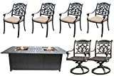 7 Piece Propane Fire Pit Table Set Cast Aluminum Patio Flamingo Mandalay Furniture Bronze. Review