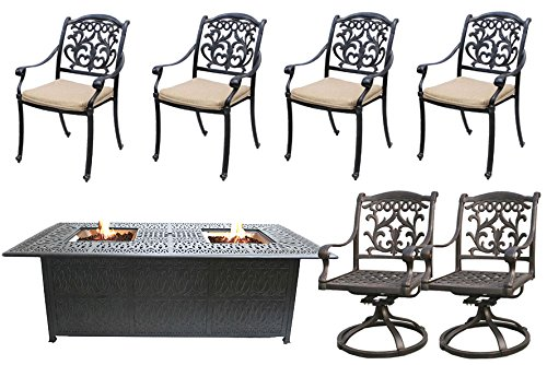 7 Piece Propane Fire Pit Table Set Cast Aluminum Patio Flamingo Mandalay Furniture Bronze. For Sale